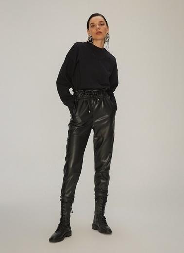 NGSTYLE Lastikli Suni Deri Pantolon Siyah